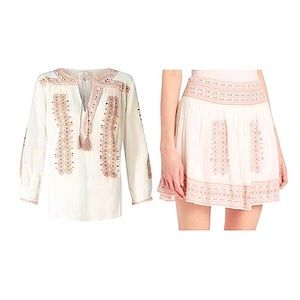 Joie Embroidered Peasant Top Skirt Set White Pink
